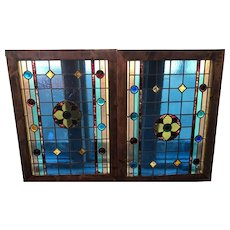 Pair of Victorian stained glass windows