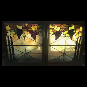 Pair of companion grape arbor stained glass windows
