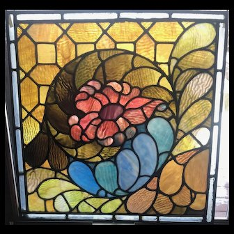 Interesting glass in the floral stauned glass window
