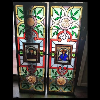 Exceptional Hans Holbein and Bonifac Amerbach portrait stained glass windows