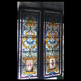 Exceptional pair of portrait stained glass windows