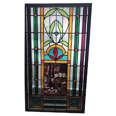 Exceptional stained glass portrait window