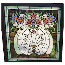 Early 20th century floral stained glass window