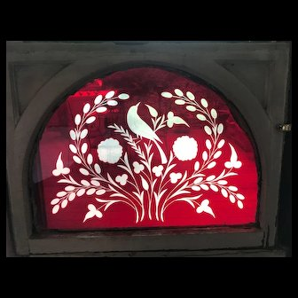 Very rare pair of ruby wheel cut stained glass windows with bird motif