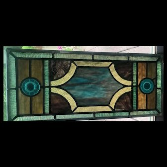 Antique  stained glass transom window