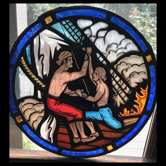 Pirate motif early 20th century stained glass window