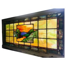 Early 20th century scenic stained glass window