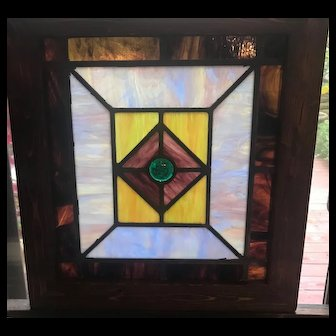 Circa 1910-1920 deco style stained glass window