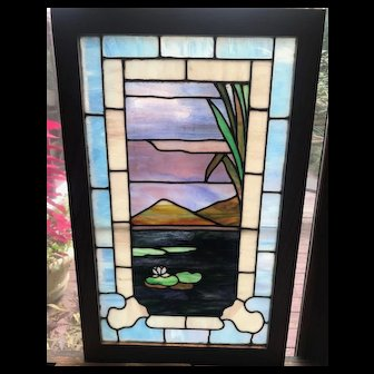 Scenic lily pad stained glass window