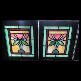 Nice small pair floral stained glass windows