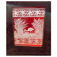 Series of ruby red etched stained glass panels