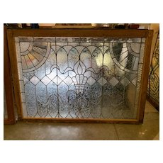 Large Victorian  clear textured stained glass window