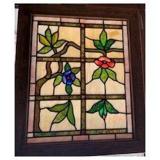 Very unusual floral stained glass window