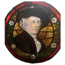 Portrait Rembrandt  - Hand painted and fired stained glass window
