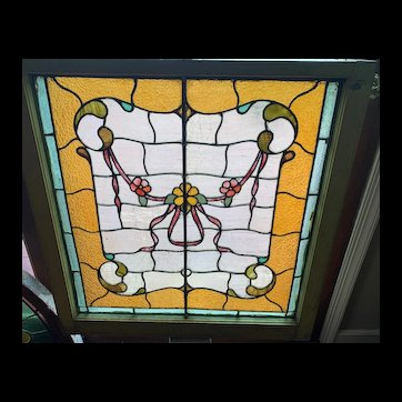 Bottom sash ribbon and flowers stained glass window