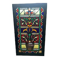 Aesthetic movement stained glass window with a wonderful combination of jewels