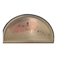 Clear etched tulips stained glass window