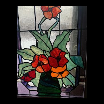 1930s stained glass window featuring  vase of Flowers. ---- from Germany