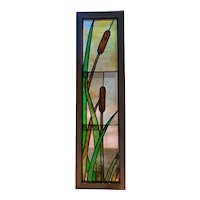 Antique stained glass cat tail window