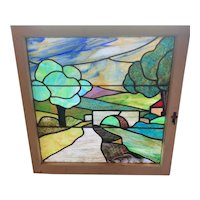 Beautiful colors in this scenic stained glass window