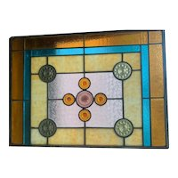 Early 20th century art  deco style stained glass window
