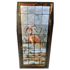Wonderful painted and fired flamingo stained glass panel