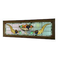 Antique cornucopia stained glass window