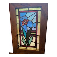 Small antique floral stained glass window