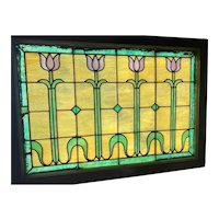 Early 20th century tulip strained glass window