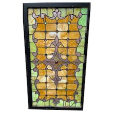 Antique stained glass landing window