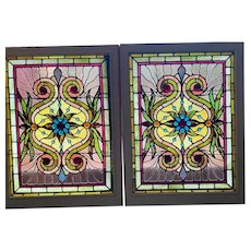 Matched pair Victorian  jeweled stained glass windows