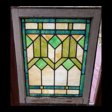 Art Deco style stained glass window