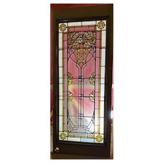 Early 20th century stained glass door panel