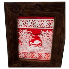Small red etched egrit stained glass panel