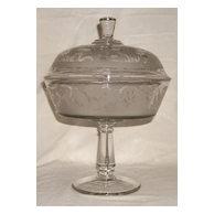 Large Flamingo Habitat Covered Compote – Hobbs, Brockunier & Co. - Ca 1880