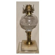 "Atterbury Oil Lamp - ""Cherry Ripe"" Font on a Brass and Marble Base – Ca. 1870"