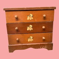 Vintage Doll 3 Drawer Chest 1940s.