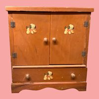 1940s Wooden Doll Size Wardrobe for hanging Doll Clothes