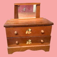 Darling Vintage 1940s Wooden Dolls  Dresser & Mirror