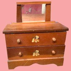 Darling Vintage 1940s Wooden Dolls  Dresser & Mirror