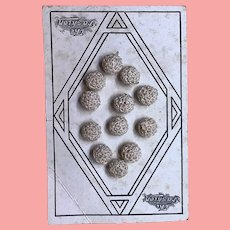 Vintage crochet buttons on original card The Fashion