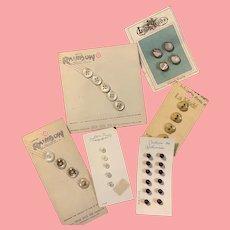 Vintage buttons still on original cards 6 sets