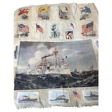 Large Linen Sheet Of Vintage Trade Cards Marine and Flags