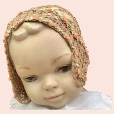 Fabulous antique hand knotted cap with silk roses