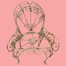 Fancy Small Vintage Bent Wire Doll Chair