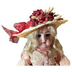 """Handmade Fancy Straw Doll Hat For 12"""" Doll Head"""