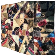 Victorian Crazy Quilt Velvet and Silk Beautiful flowered backing