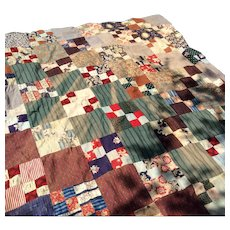 Early Vintage Patchwork Quilt Top With Billiken
