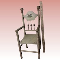 "Vintage Wooden Doll Size Chair Bird Decal 15 1/2"" Tall"