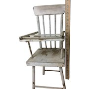 """Vintage Wooden Doll Highchair Original Patina 13 and 1/2"""" Tall"""